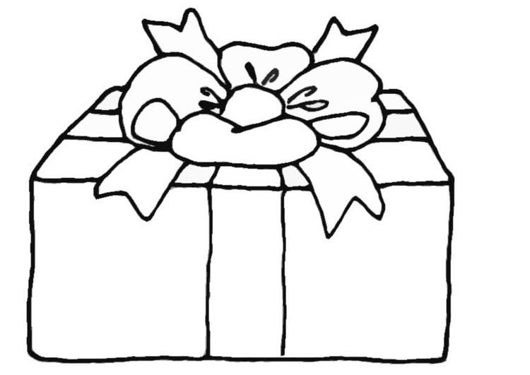 Coloring page Christmas present