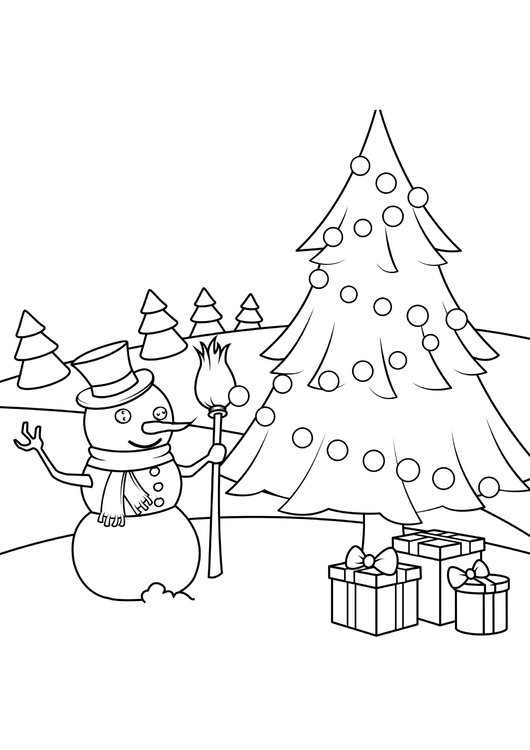Coloring page christmas scene