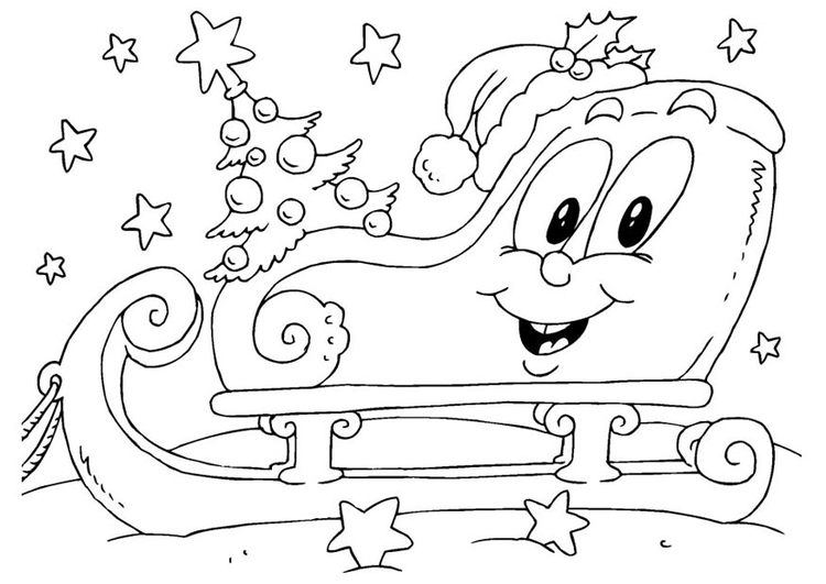 Coloring page christmas sled