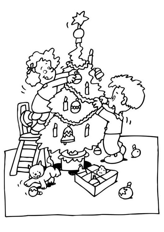 Coloring page Christmas tree decoration