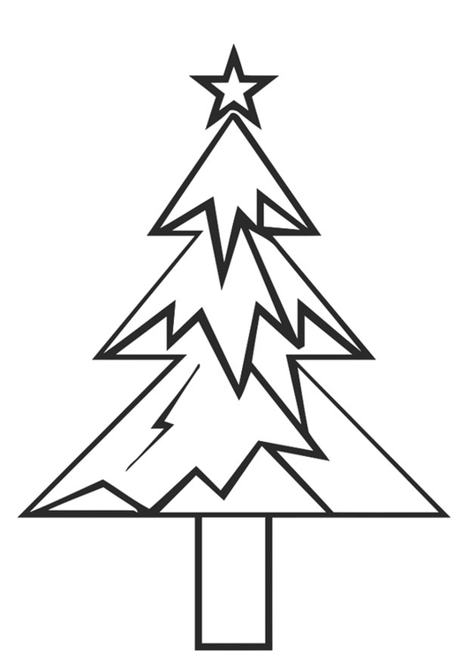 Coloring page christmas tree with christmas star