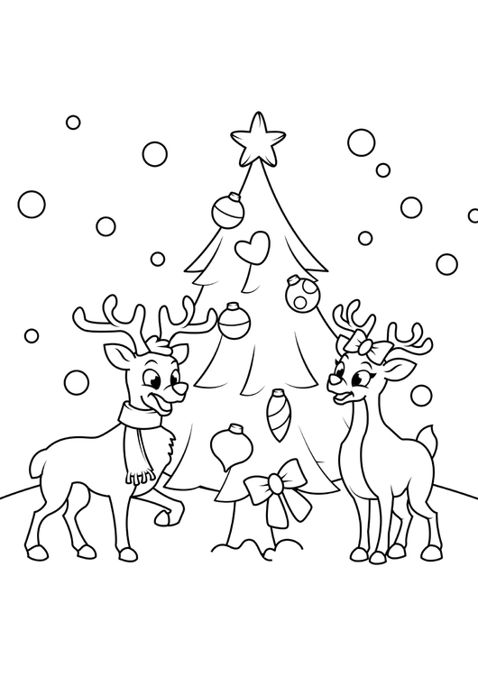 Coloring Page Christmas Tree With Reindeer Free Printable Coloring Pages Img 31079