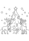 Coloring page Christmas tree with reindeer