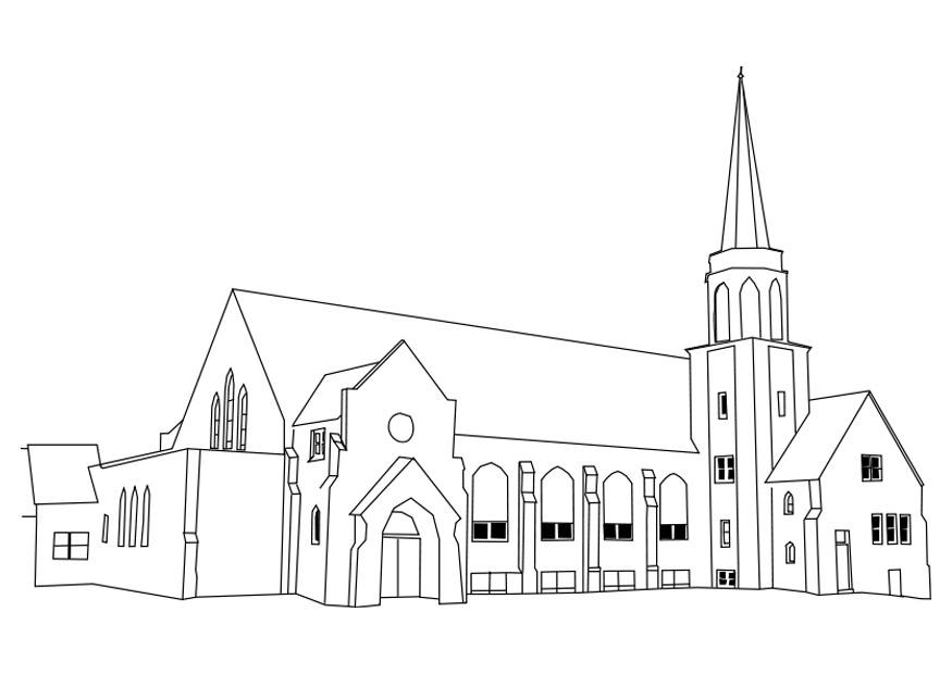 Coloring page church img 27180 for Interieur tekenen