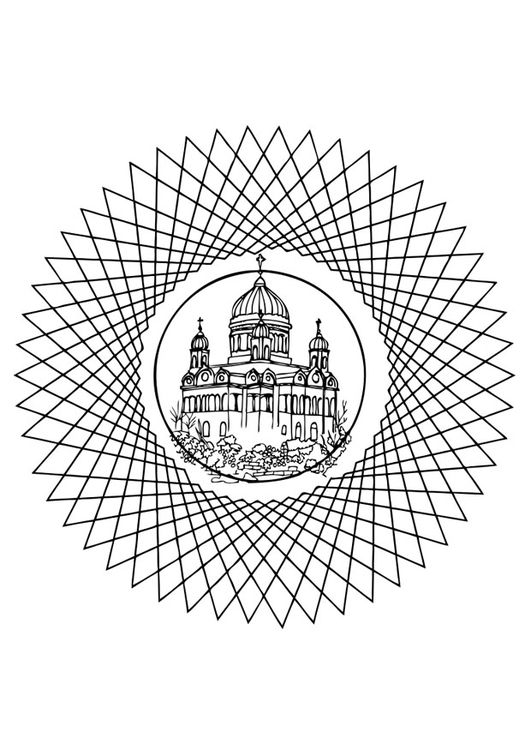 Coloring page church in mandala