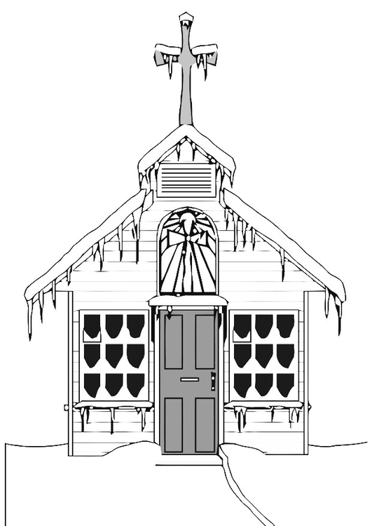Coloring page church in winter