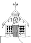 Coloring pages church in winter