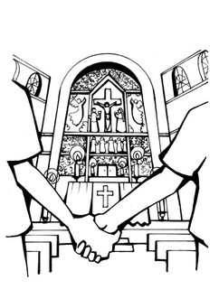 Coloring page church wedding