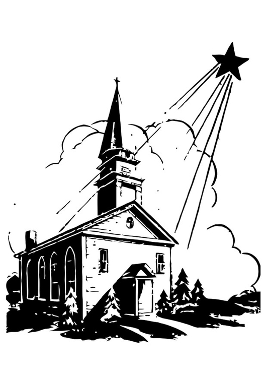Coloring page church with christmas star