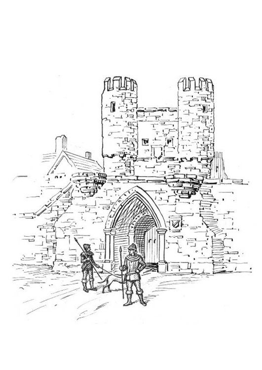 Coloring page city gate