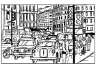 Coloring page city traffic