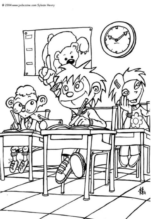 Coloring page classroom