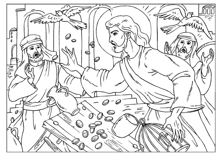 Coloring page cleansing the temple