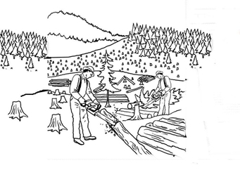 Coloring page clear cutting the forest