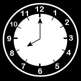 Coloring page clock says eight o'clock
