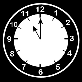 Coloring page clock says eleven o'clock