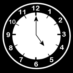 Coloring page clock says five o'clock