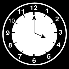 Coloring page clock says four o'clock