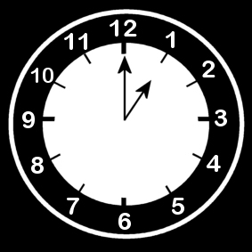 Coloring page clock says one o'clock