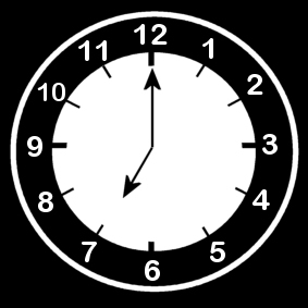 Coloring page clock says seven o'clock