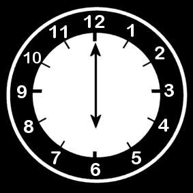 Coloring page clock says six o 'clock