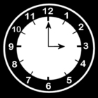 Coloring page clock says three o'clock