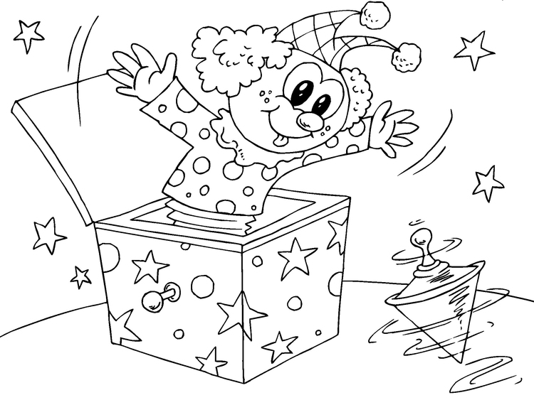 Coloring page clown in box
