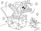 Coloring pages clown in box
