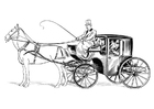 Coloring page coach with coachman and horse
