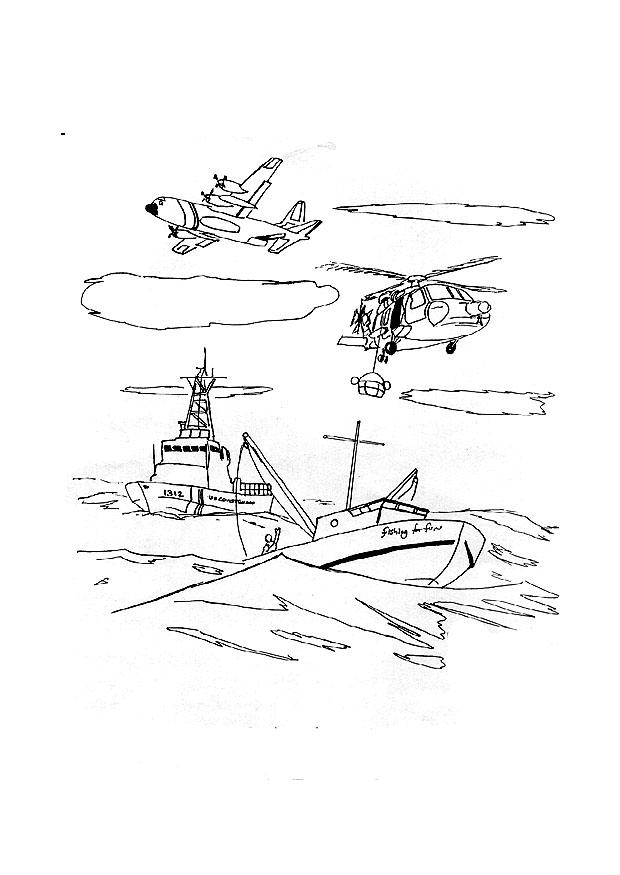 Coloring page Coast Guard in action