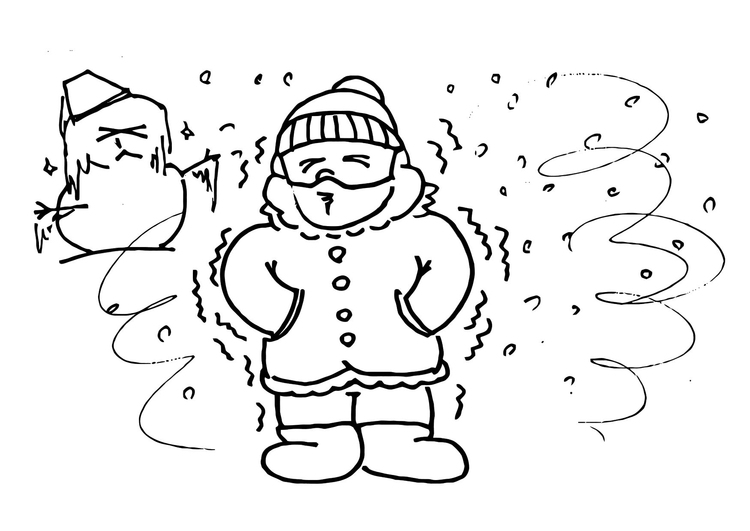 Coloring page cold, winter