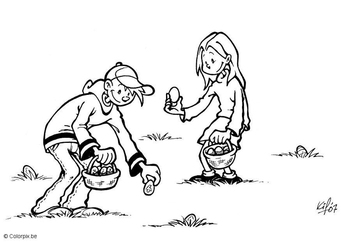 Coloring page collecting Easter eggs