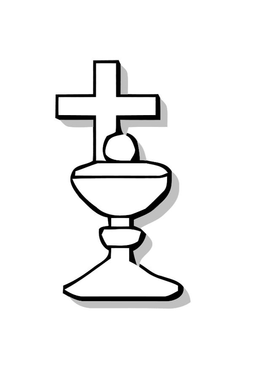 Coloring page Communion plate and cross