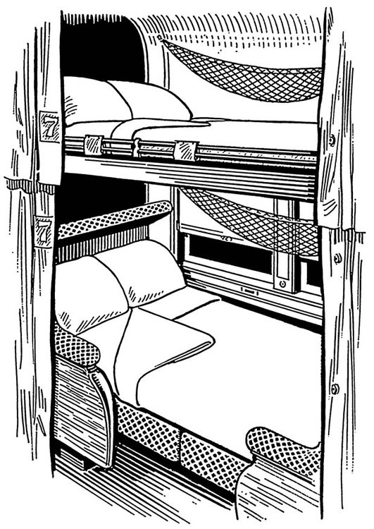 Coloring page compartment in ship