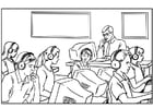Coloring page computer classroom