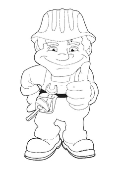 Coloring page construction worker