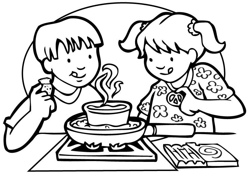 Mother And Children Cooking In The Kitchen Coloring Book Page