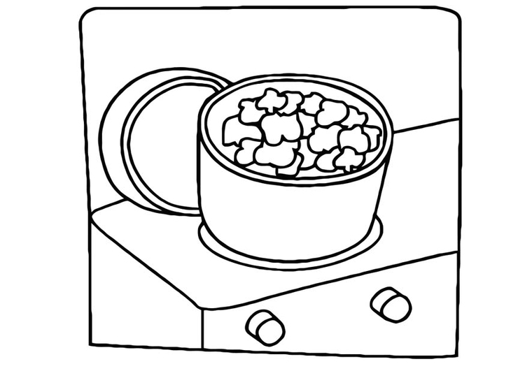 Coloring page cooking popcorn