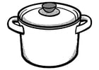 Coloring page cooking pot