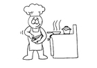Coloring page cooking