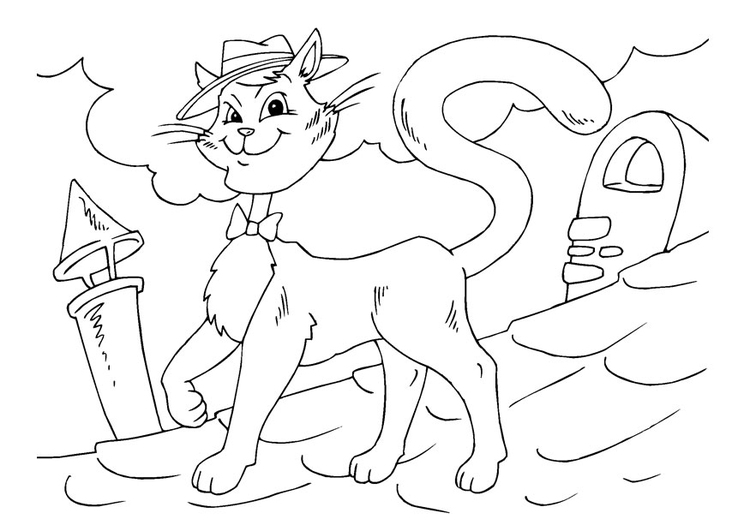 Coloring page cool cat