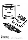 Coloring page corn