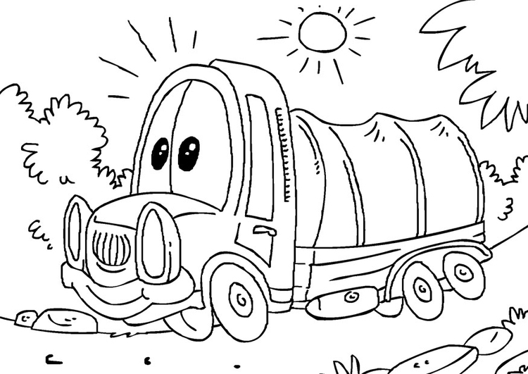 Coloring page covered truck
