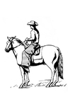 Coloring pages cowboy on horse