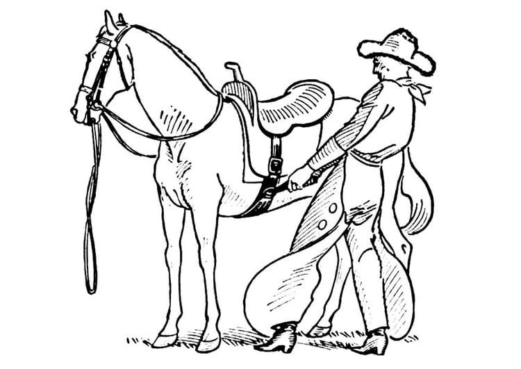Coloring Page Cowboy Saddles Horse Img 18852