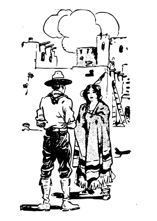Coloring page cowboy with woman