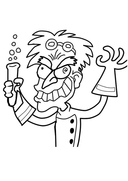 Coloring page crazy professor