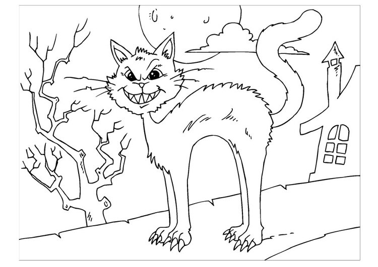Coloring page creepy cat