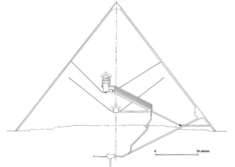 Coloring page cross section of Cheops Piramid in Giza