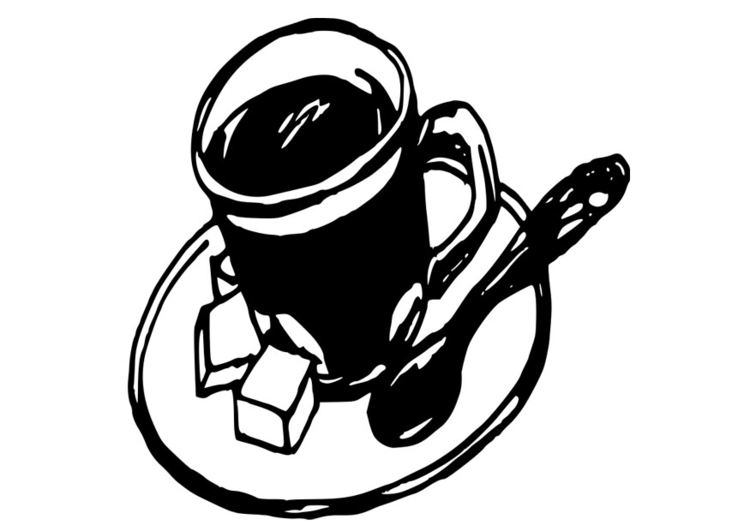 Coloring page cup of coffee